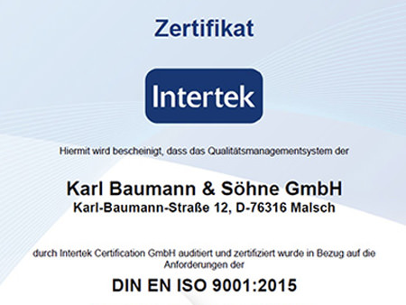 Karl Baumann GmbH Waldprechtsweier Steel Wool Certification