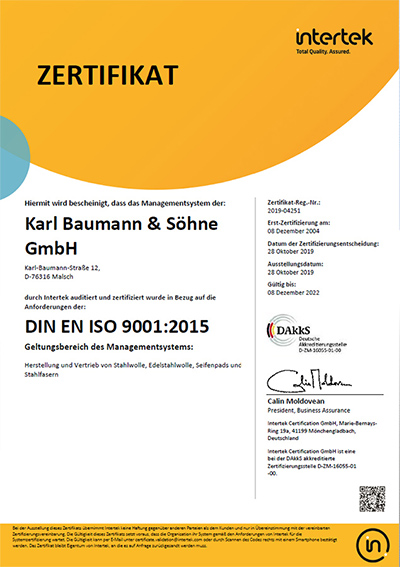Zertifikat DIN EN ISO 9001:2008 - Karl Baumann & Söhne Waldprechtsweier